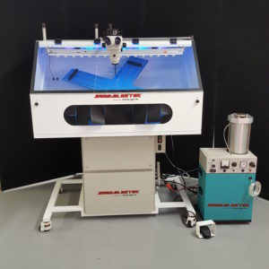 Work Cell Custom Designed for Specific Application Requirements | XV-1 Micro Sand Blaster | Custom Manufactured Fixtures