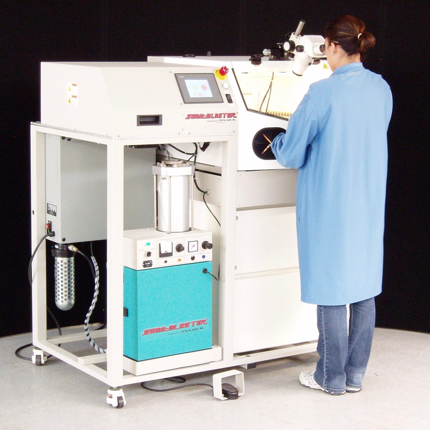SWAM-Blaster® Model CCR-NP16X16 | Automated Conformal Coating Removal System with LV-1 or LV-2 Sand Blaster