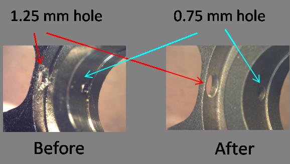 Intersecting holes in Titanium